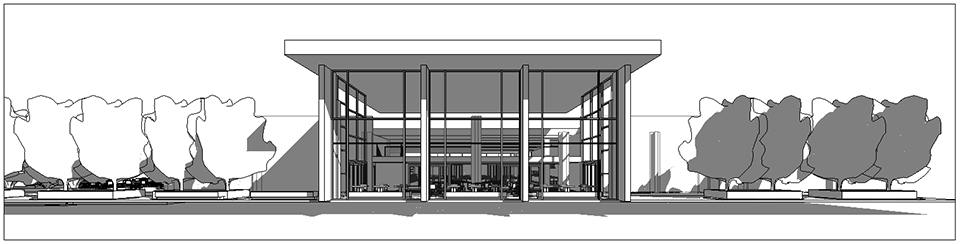 University of Miami Dining Addition Hecht Entry Elevation from Field