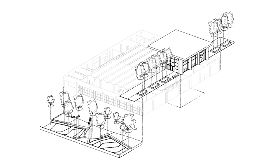 University of Miami Dining Addition Hecht Exploded Axon of Entry and Terraced Seating